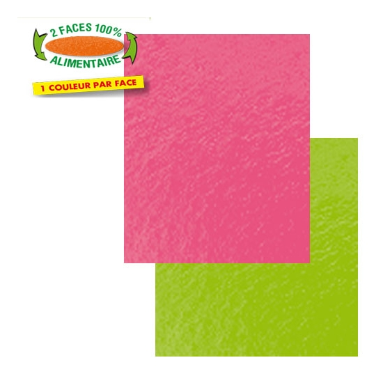 CARRES COULEUR  ANIS/FRAMBOISE